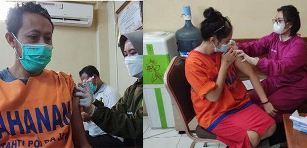 250 Tahanan di Mapolda Jatim Ikuti Vaksinasi Covid-19