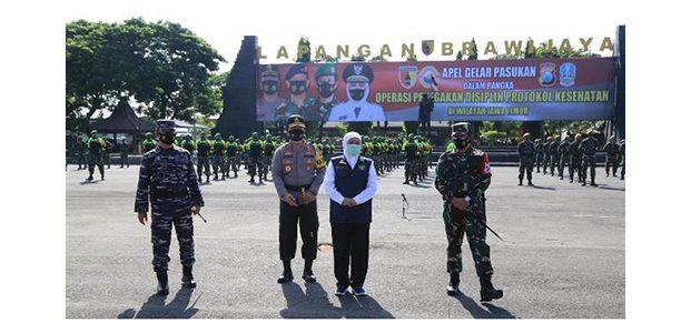 Forkopimda Jatim Hadiri Gelar Pasukan Operasi Penegakan Disiplin Prokes