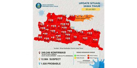 Lonjakan Covid-19, 33 Daerah di Jatim Jadi Zona Merah!