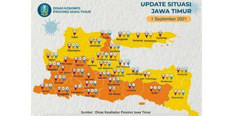 Bebas dari Zona Merah, 18 Daerah di Jatim Zona Kuning, 20 Masih Orange