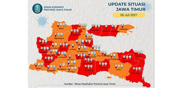 Covid-19 Melonjak, 20 Daerah di Jatim Jadi Zona Merah