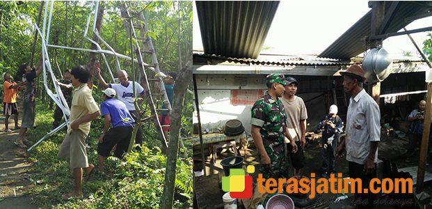 Aksi Bersama TNI dan Warga Pasca Puting Beliung di Ngadiluwih Kediri