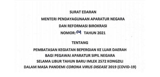 Libur Imlek, ASN Dilarang Bepergian ke Luar Daerah
