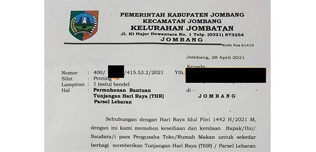 Viral! Oknum Lurah di Jombang Kirim Surat Minta THR dan Parsel Lebaran