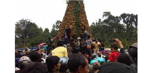 Ribuan Warga di Jombang, Berebut Gunungan Berisi 2.016 Durian