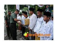 Kunjungi Jombang, Pangdam Disambut Puluhan Anak Yatim Piatu
