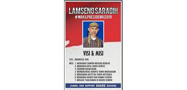 Lamseng Saragih, Ramai Dibicarakan Sebagai Wapres 2019