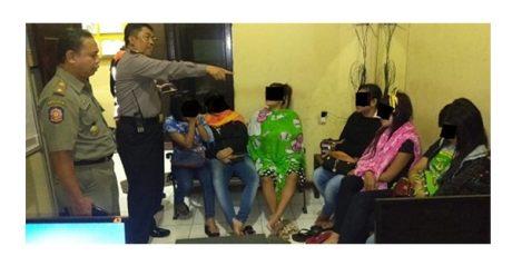 Razia Pekat, 1 Makelar dan 7 PSK di eks Lokalisasi Benowo Digaruk