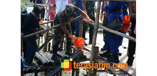 Ribuan Bibit Kepiting Ditebar di Pantai TPI Romokalisari Surabaya