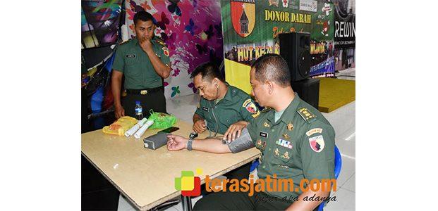 Sambut HUT Kodam Brawijaya, Ratusan Prajurit Korem 082/CPYJ Sumbangkan Darah