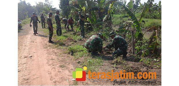 Satgas TMMD Kodim Jombang Tanam Pohon Trembesi di Sepanjang Jalan