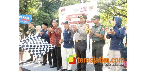 TNI Polri Amankan Deklarasi dan Pawai Kampanye Damai di Kota Kediri