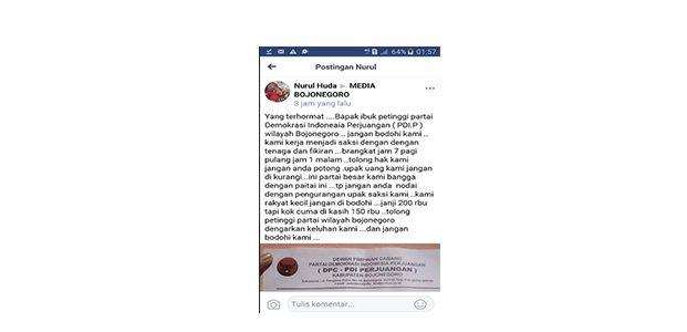 Tak Dibayar Penuh, Saksi Pemilu ini Posting Status di Grup FB Media Bojonegoro