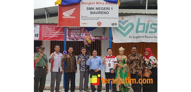 Tingkatkan Kompetensi SMK TBSM Honda, MPM Resmikan Bengkel Mitra AHASS di SMKN 1 Baureno Bojonegoro