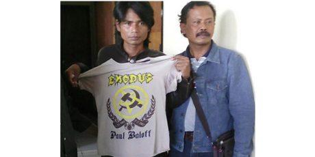 Ke Samsat Kenakan Kaos Palu Arit, Pria Buta Huruf ini Diamankan Polisi